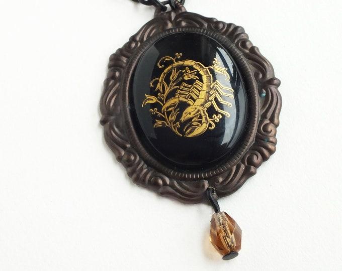 Scorpio Pendant Necklace Zodiac Astrology Jewelry Vintage Scorpio Cameo Victorian Astrology Black Gold Topaz Necklace