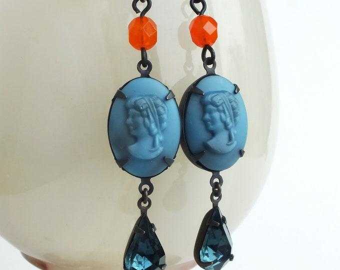 Blue Glass Cameo Earrings Indigo Orange Vintage Lady Portrait Cameo Dangle Earrings Victorian Cameo Jewelry