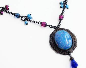 Blue Opal Necklace Large Vintage Harlequin Fire Opal Pendant Necklace Blue Opal Jewelry Light Blue Pink Glass Necklace Victorian Jewelry