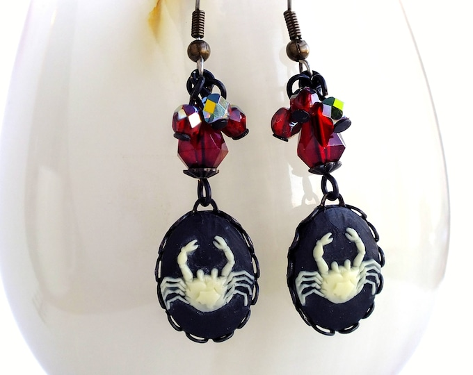 Cancer Zodiac Earrings Victorian Astrology Cameo Earrings Vintage Victorian Zodiac Jewelry Cancer Crab Astrology Gift for Her