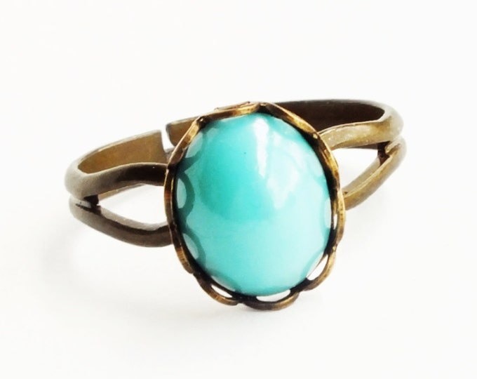 Small Turquoise Glass Ring Robins Egg Blue Vintage Glass Turquoise Ring Adjustable Ring
