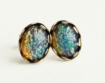 Tiny Iridescent Blue Glass Earrings Studs Blue Glass Opal Earrings Vintage Glass Harlequin Fire Opal Post Earrings Hypoallergenic Studs