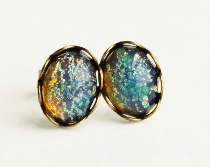 Tiny Iridescent Blue Glass Earrings Studs Blue Glass Opal Earrings Vintage Glass Harlequin Fire Opal Post Earrings Hypoallergenic Studs
