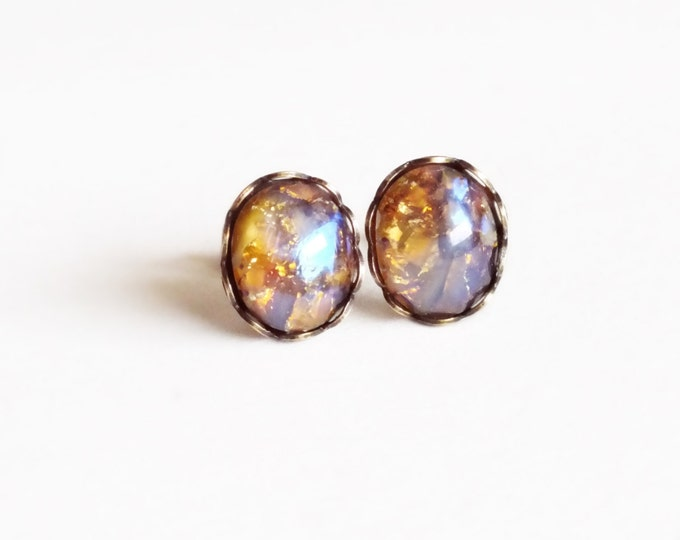 Topaz Glass Opal Stud Earrings Vintage Glass Harlequin Fire Opal Post Earrings Topaz Studs Hypoallergenic Iridescent Glass Jewelry