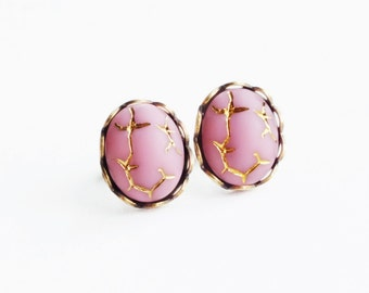 Pink Glass Studs Vintage Gold Crackle Matte Glass Post Earrings Light Pink Studs Hypoallergenic Pastel Pink Gold Jewelry