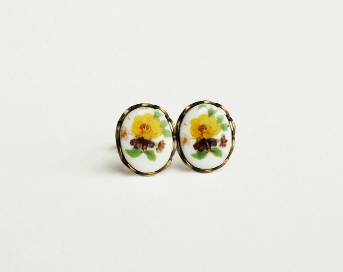Yellow Flower Stud Earrings Vintage Yellow Floral Cameo Studs Hypoallergenic Bouquet Jewelry Victorian Earrings Yellow Jewelry