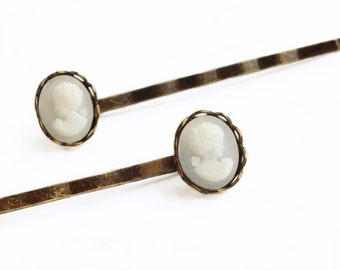 Cameo Hair Pins White Cameo Vintage Victorian Portrait Victorian Bobby Pins Romantic Victorian Bridal Hair Pin Wedding Accessories