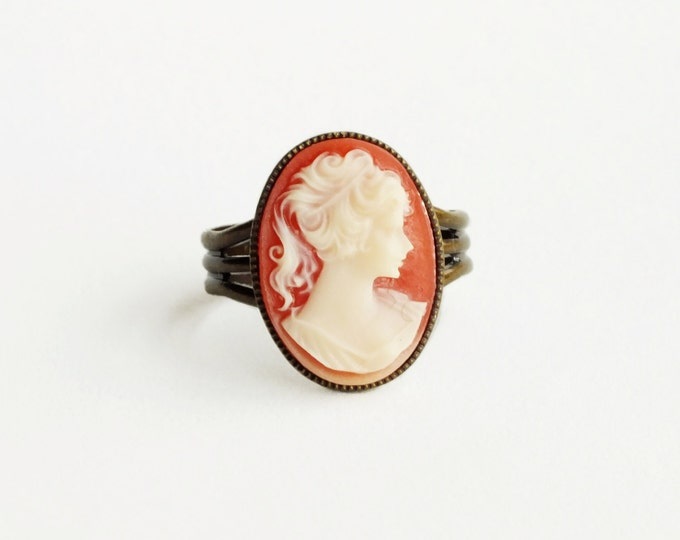 Cameo Ring Vintage Carnelian Resin Victorian Portrait Antique Brass Adjustable Cameo Jewelry Romantic Gift For Her