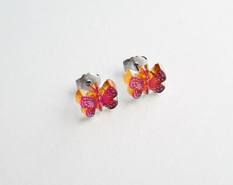 Butterfly Post Earrings Small Vintage Iridescent Glass Studs AB Volcano Crystal Earrings Hypoallergenic Studs