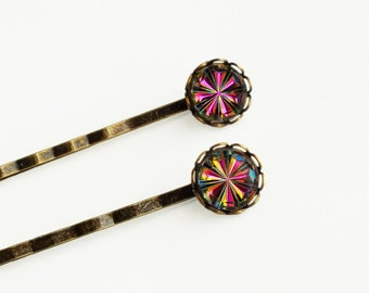 Rainbow Crystal Hair Pins Small Rainbow Glass Bobby Pins Vintage Iridescent Hot Pink Hairpins Victorian Vitrail Medium Jewels