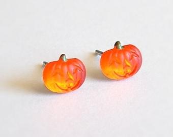 Pumpkin Post Earrings Pumpkin Studs Jack O Lantern Jewelry Orange Glass Earrings Pumpkin Jewelry Vintage Halloween Jewelry Hypoallergenic
