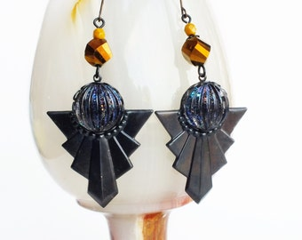 Large Art Deco Earrings Oxidized Brass Big Chunky Metal Earrings Black Glitter Art Deco Statement Geometric Triangle Jewelry