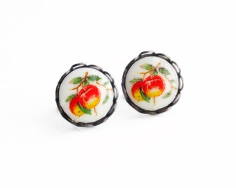 Red Apple Fruit Stud Earrings Small Cameo Post Earrings Hypoallergenic Fruit Studs Red Apple Jewelry