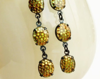 Golden Olive Brown Earrings Vintage Honeycomb Earrings Olive Amber Dangles Jewelry