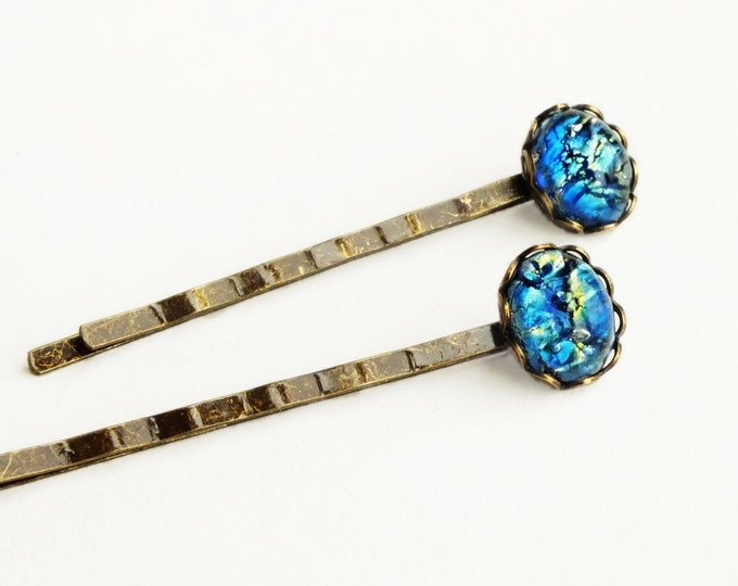Blue Opal Hair Pins Vintage Iridescent Glass Hair Pins Royal Blue Bobby Pins