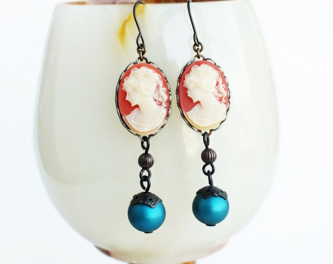 Cameo Dangle Earrings Vintage Victorian Carnelian Cameo Jewelry Long Coral Teal Victorian Jewelry
