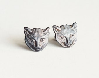 Black Cat Studs Halloween Jewelry Oxidized Brass Post Earrings Halloween Hypoallergenic Black Cat Lovers Jewelry