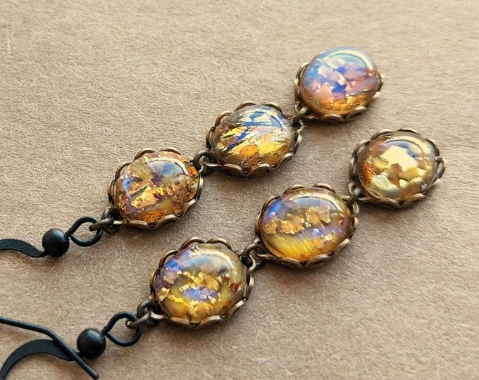 Topaz Glass Opal Earrings Yellow Opal Dangle Earrings Vintage Iridescent Amber Glass Earrings Opal Jewelry Dangle Earrings