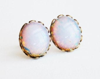 Fire Opal Stud Earrings Large Vintage Light Pink Glass Cabochon Posts Hypoallergenic Opal Jewelry Pastel Bridal Jewelery