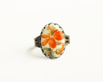 Orange Flower Ring Vintage Floral Cameo Adjustable Raw Brass Tangerine Victorian Jewelry Colorful Spring Accessories