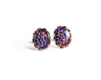 Iridescent Purple Post Earrings Small Vintage Fish Scale Glass Cabochons Hypoallergenic