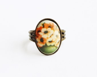 Peach Flower Ring Floral Cameo Ring Vintage Glass Floral Ring Poppy Ring Adjustable Ring Peach Flower Jewelry