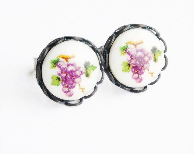 Fruit Cameo Earrings Fruit Studs Grape Post Earrings Vintage Glass Cameos Grape Studs Hypoallergenic Fruit Jewelry