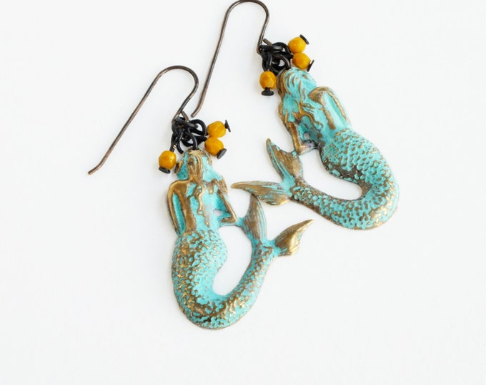 Mermaid Earrings Verdigris Brass Earrings Czech Glass Beads Green Mustard Aqua Mermaid Earrings Victorian Mermaid Jewelry