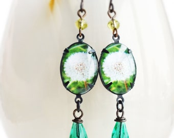 Dandelion Earrings Glass Flower Photo Earrings Green Aqua Woodland Earrings Nature Jewelry Statement Dangle Earrings
