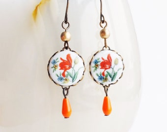 Tulip Earrings Vintage Flower Earrings Floral Cameo Earrings Victorian Floral Jewelry Red Orange Floral Romantic Cute Jewellery