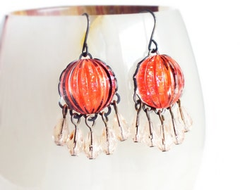 Neon Coral Chandelier Earrings Vintage Sparkling Domed Ribbed Glass Hot Pink Orange Peach