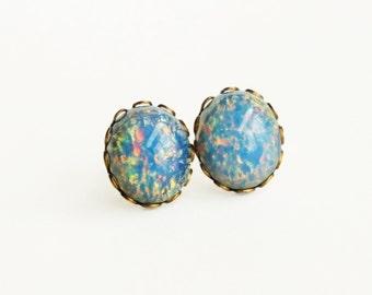 Blue Glass Opal Stud Earrings Vintage Blue Glass Fire Opal Post Earrings Hypoallergenic Light Blue Glass Opal Jewelry Romantic Gift For Her