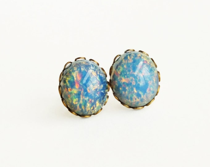 Blue Glass Opal Stud Earrings Vintage Blue Glass Fire Opal Post Earrings Hypoallergenic Light Blue Glass Opal Jewelry Romantic Gift For Her