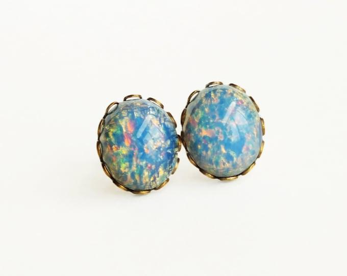 Blue Opal Stud Earrings Vintage Blue Fire Opal Post Earrings Hypoallergenic Light Blue Opal Jewelry Romantic Gift For Her