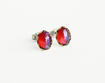 Tiny Dragons Breath Stud Earrings Small Vintage Glass Mexican Opal Studs Tiny Opal Post Earrings Mexican Fire Opal Jewelry