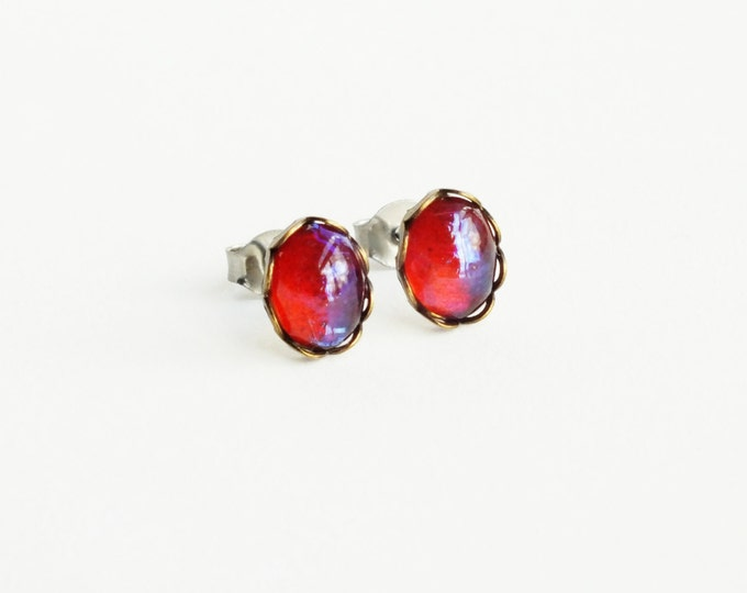 Tiny Glass Dragons Breath Stud Earrings Small Vintage Glass Mexican Opal Studs Tiny Glass Opal Post Earrings Glass Mexican Fire Opal Jewelry