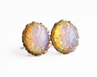 Fire Opal Stud Earrings Vintage Domed Glass Cabochon Posts Hypoallergenic Opal