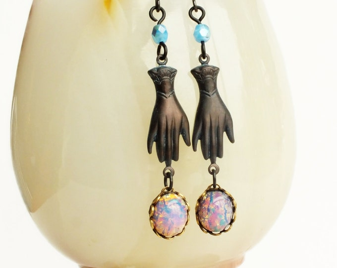 Victorian Hand Earrings Glass Opal Dangle Earrings Vintage Glass Harlequin Fire Opal Antiqued Brass Charms Victorian Hand Jewelry