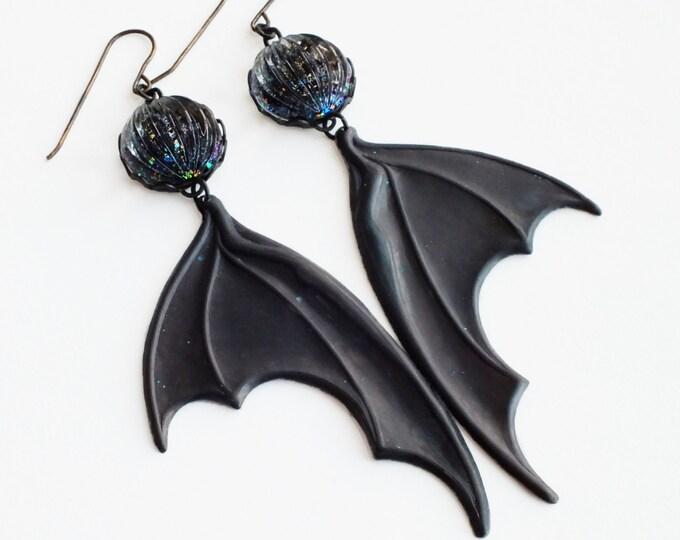 Halloween Bat Wing Earrings Large Black Wing Earrings Dragon Wing Earrings Black Oxidized Metal Earrings Statement Bat Jewelry Halloween