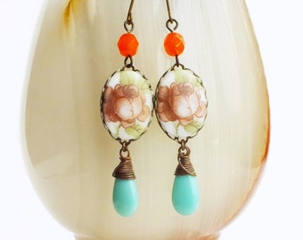 Rose Cameo Earrings Vintage Glass Floral Earrings Aqua Orange Victorian Wedding Jewelry Romantic Bridal Earrings