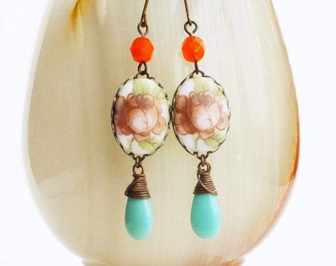 Rose Cameo Earrings Vintage Glass Floral Earrings Aqua Orange Victorian Wedding Jewelry Romantic Bridal Earrings