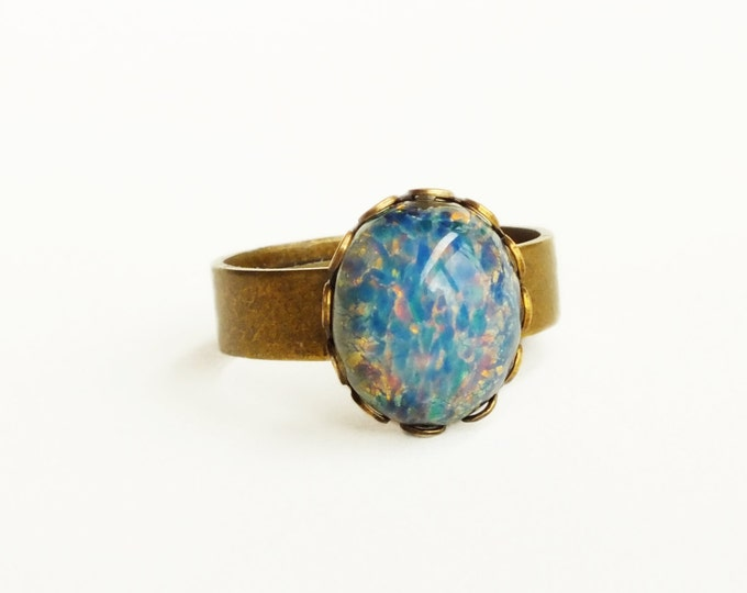 Blue Opal Ring Vintage Harlequin Fire Opal Ring Adjustable Brass Opal Ring Small Blue Ring Iridescent Glass Opal Jewelry