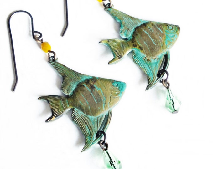 Angel Fish Earrings Verdigris Brass Glass Beads Avocado Mint Green Tropical Fish