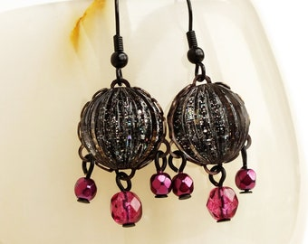 Black Galaxy Glitter Chandelier Earrings Small Black Pink Glass Chandelier Earrings Galaxy Nail Polish Jewelry
