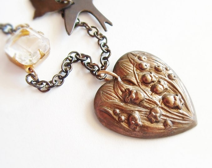 Heart Pendant Necklace Vintage Antique Brass Lily-of-the-Valley Floral Necklace Victorian Jewelry Romantic Gift For Her Bronze Anniversary