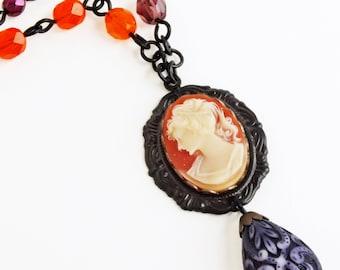 Orange Purple Beaded Cameo Necklace Vintage Cameo Pendant Jewelry Victorian Woman Necklace Orange Purple