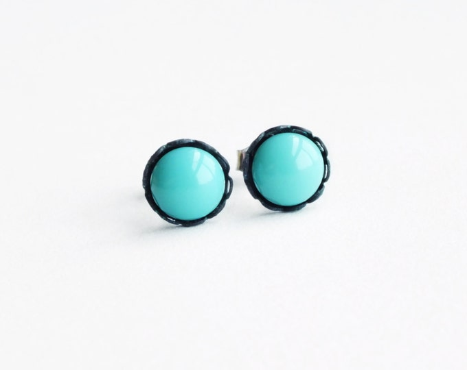 Tiny Glass Turquoise Stud Earrings Vintage Round Aqua Glass Post Earrings Robins Egg Blue Hypoallergenic
