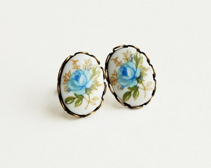 Blue Rose Post Earrings Vintage Cameo Stud Earrings Blue Flower Studs Hypoallergenic Rose Jewelry Victorian Light Blue Bridal Earrings