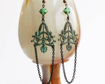 Victorian Verdigris Dangle Earrings Green Patina Jewelry Filigree Dangles Mint Green Jewelry Chain Dangle Earrings