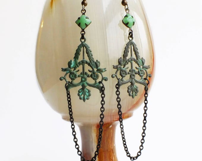 Victorian Verdigris Dangle Earrings Green Patina Jewelry Filigree Dangles Mint Green Jewelry Chain Dangle Earrings